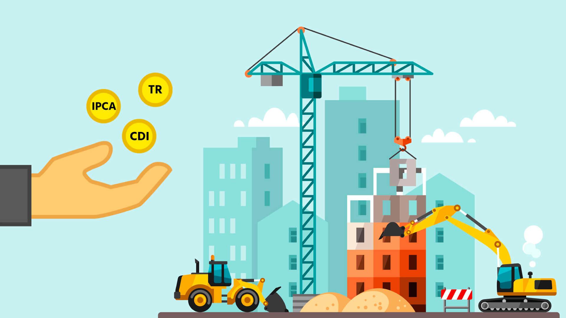ilustração de uma construção de prédio, onde aparece um trator, guindaste, areia.