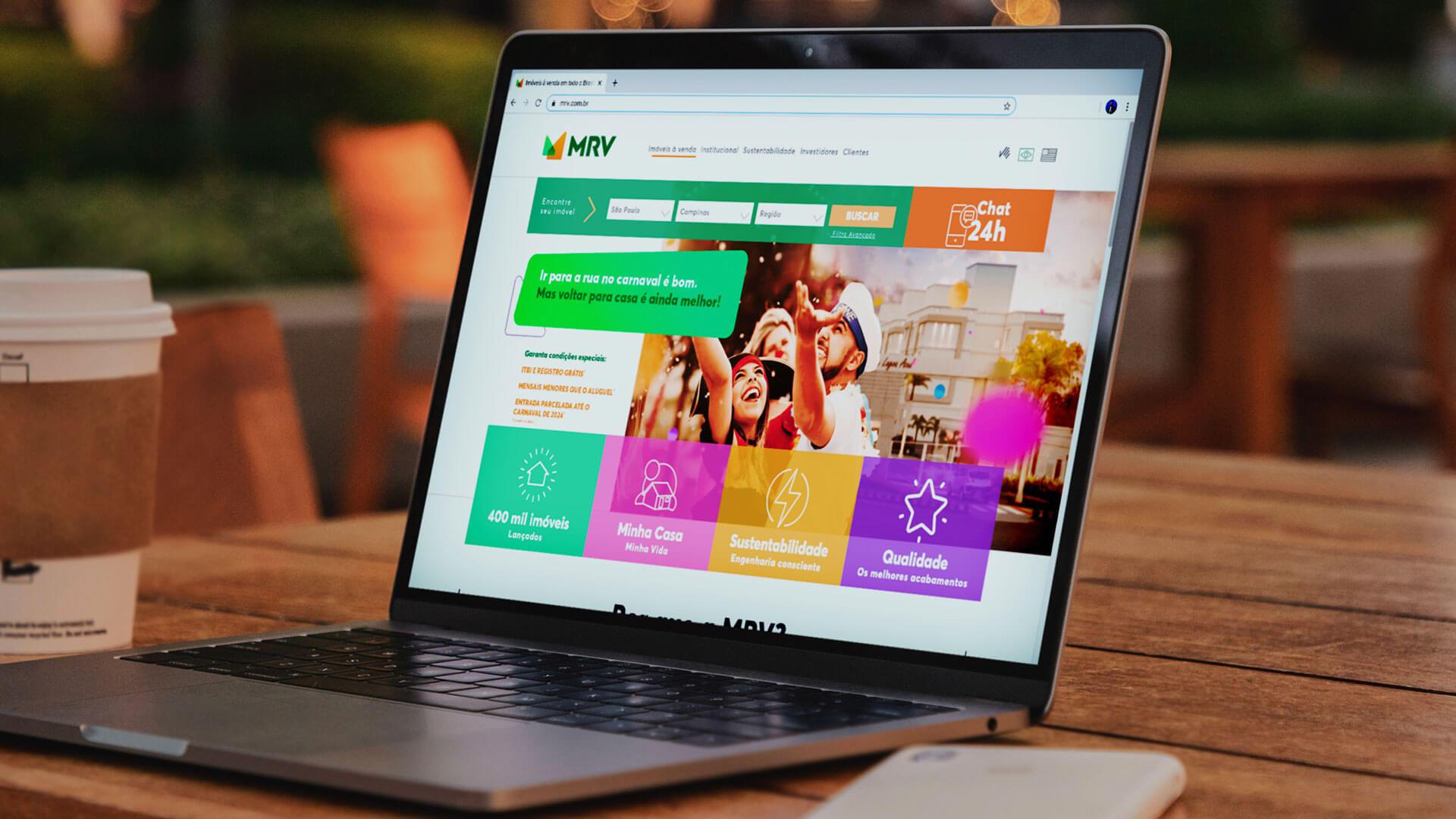 tela de computador com portal da MRV aberto