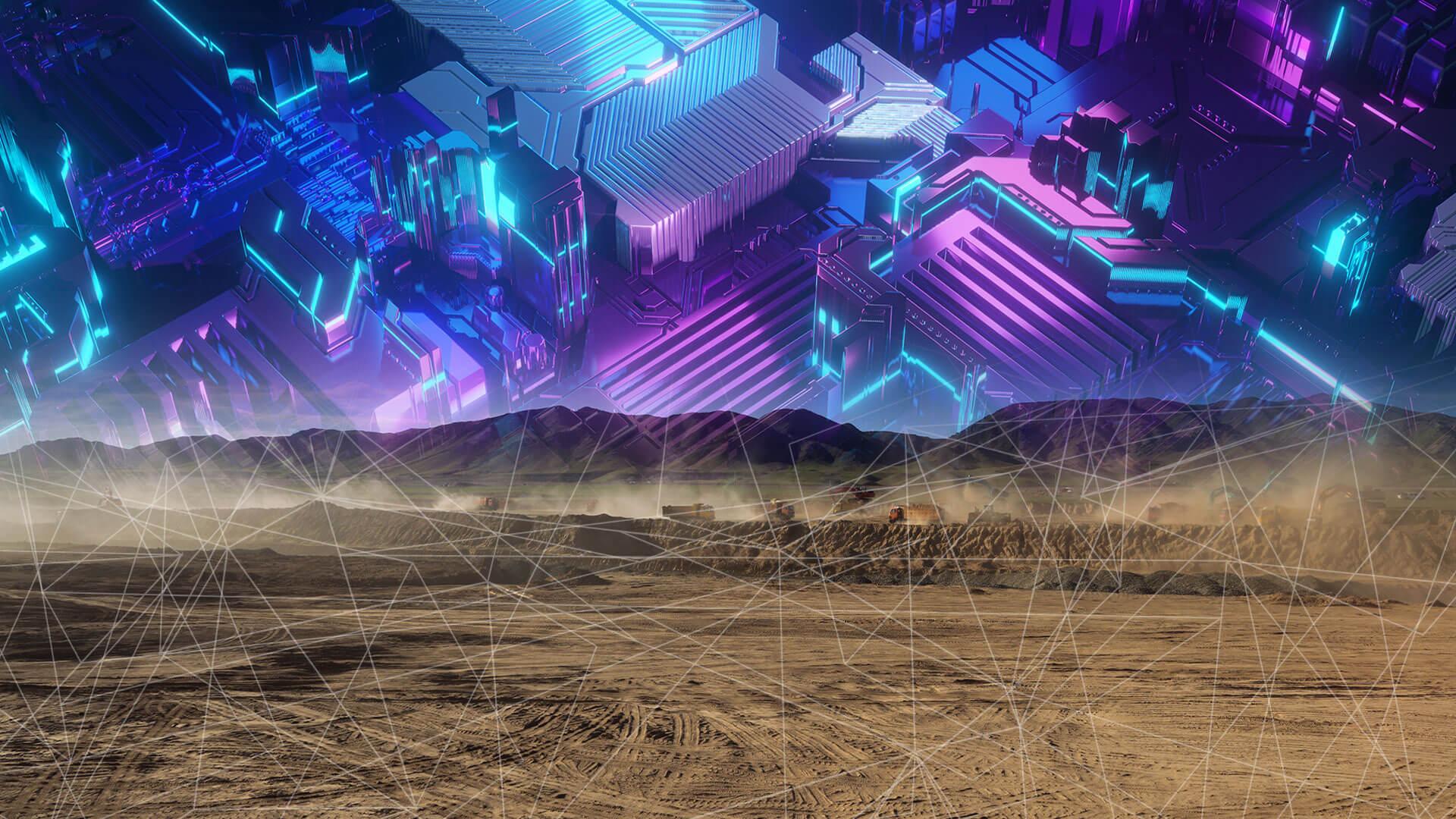um terreno vazio e no lugar de nuvens um simbolo de tecnologia