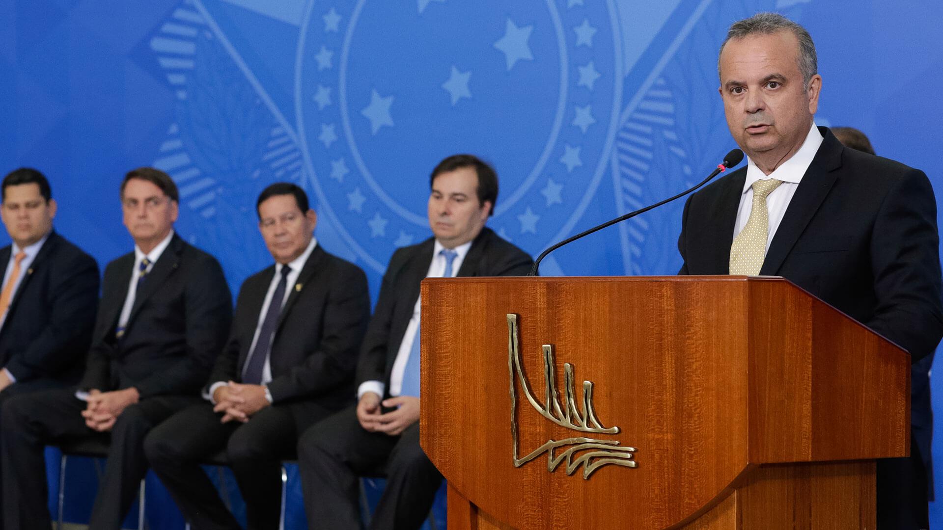 Rogério Marinho discursando ao tomar posse do Ministério do Desenvolvimento Regional